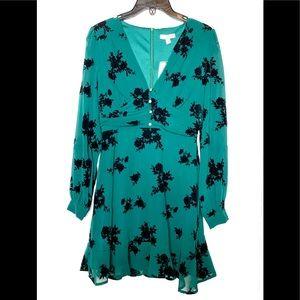 GB long Sleeve Floral Junior Emerald Dress Sz. S